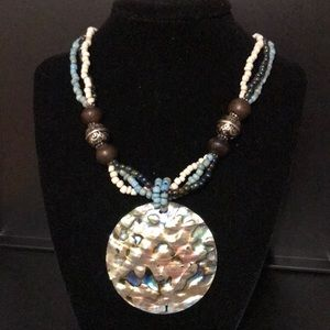 Blue white brown necklace